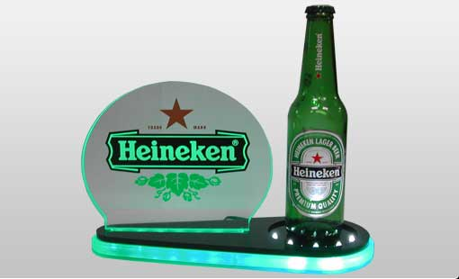 LED Acrylic Edge-lit Signs with Bottle Glorifiers for Heineken